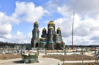 Inilah Pemandangan Gereja Katedral Angkatan Bersenjata Rusia yang baru di Taman Patriot di luar Moskow, Rusia.