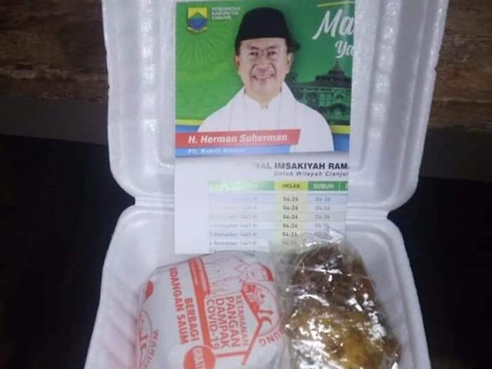 Nasi Kotak Berstiker Plt Bupati Cianjur