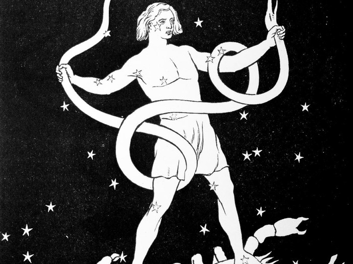 Constellation of Ophiuchus ( the serpent-bearer) drawn on a blackboard