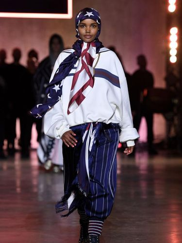 LONDON, ENGLAND - FEBRUARY 16: Halima Aden walks the runway TOMMYNOW London Spring 2020 at Tate Modern on February 16, 2020 in London, England. (Photo by Stuart C. Wilson/Getty Images for Tommy Hilfiger)