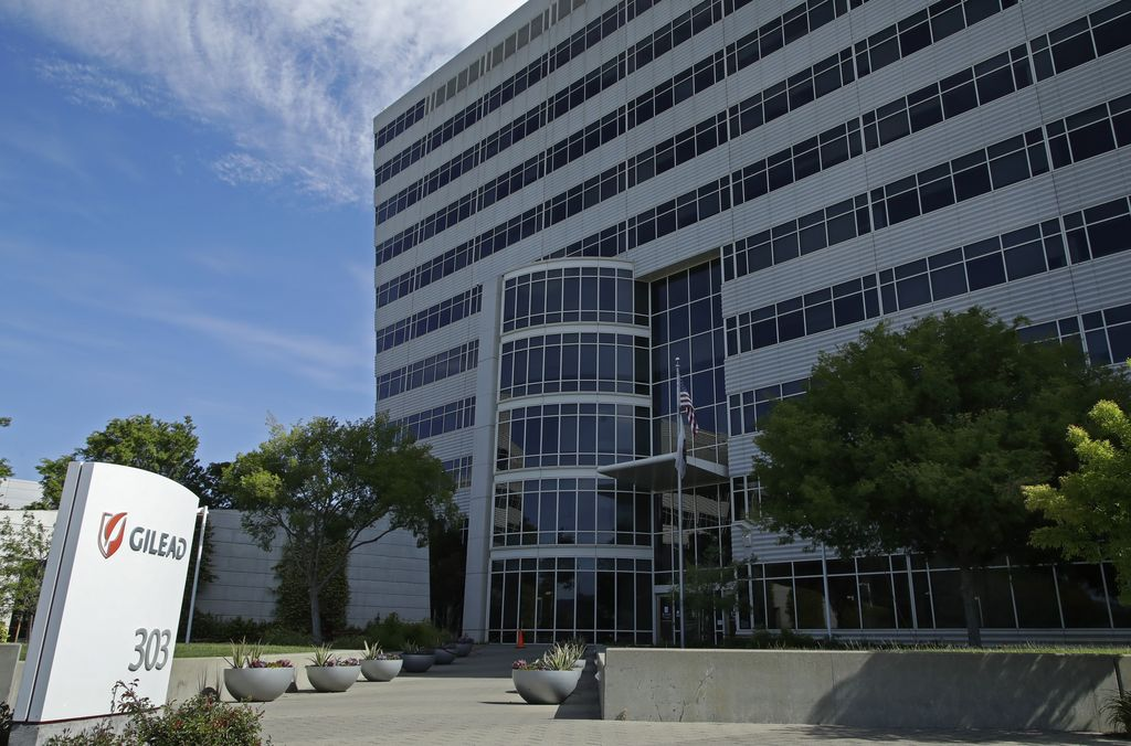 Gilead Sciences headquarters are seen on Thursday, April 30, 2020, in Foster City, Calif. White House health advisor Dr. Anthony Fauci said Wednesday, April 29 that data from a coronavirus drug trial testing Gilead Sciences' antiviral drug remdesivir showed