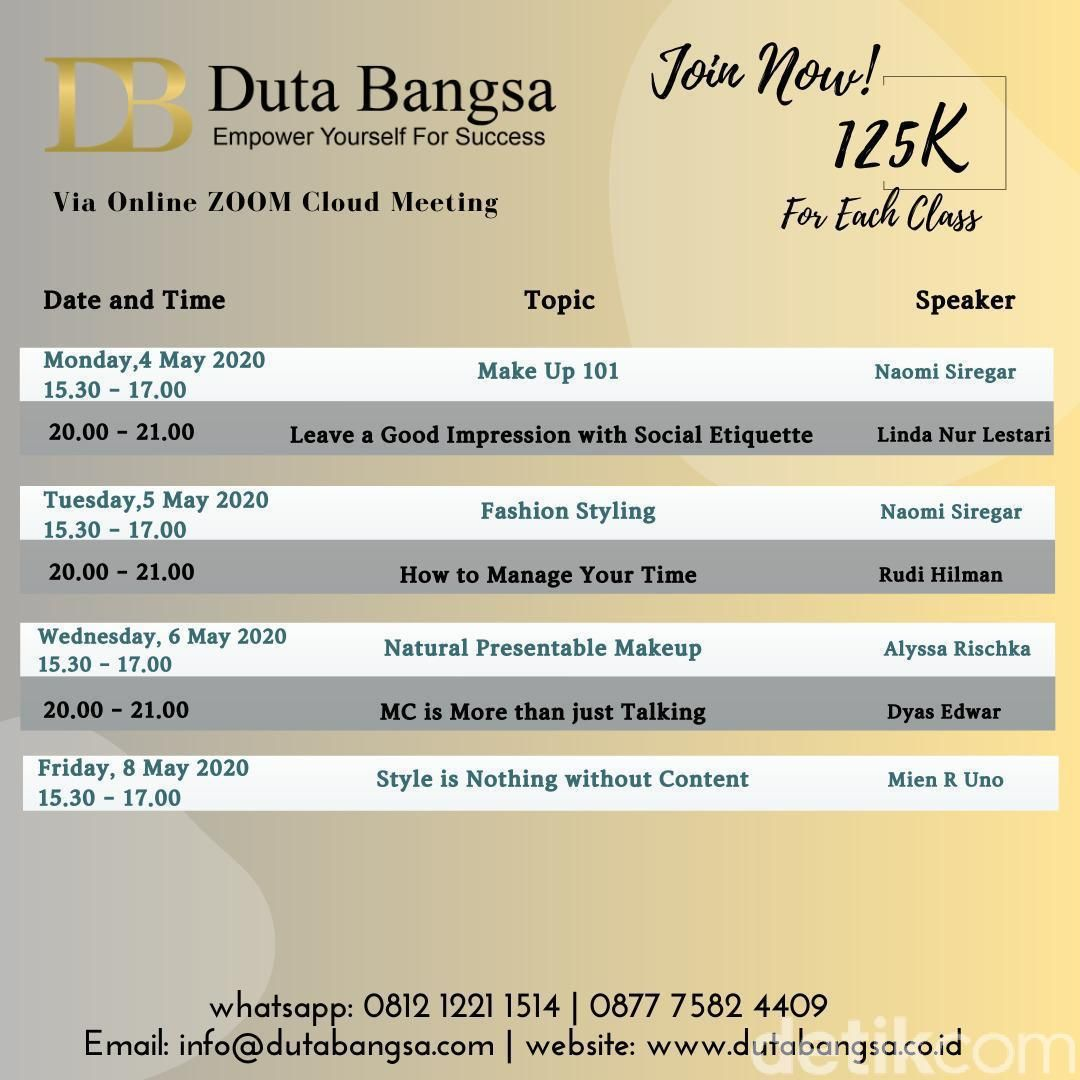 Jadwal kelas via online zoom meeting Duta Bangsa (Duta Bangsa)