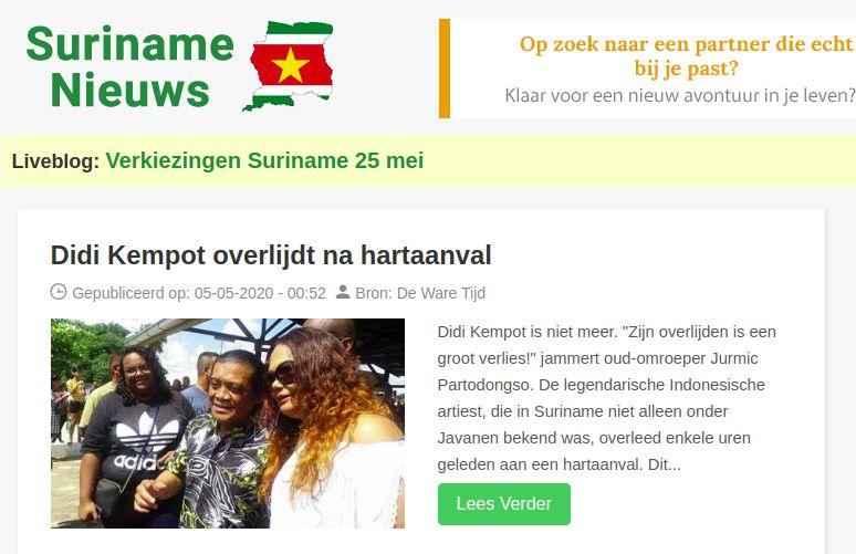 Kabar meninggalnya Didi Kempot ikut diberitakan media Suriname