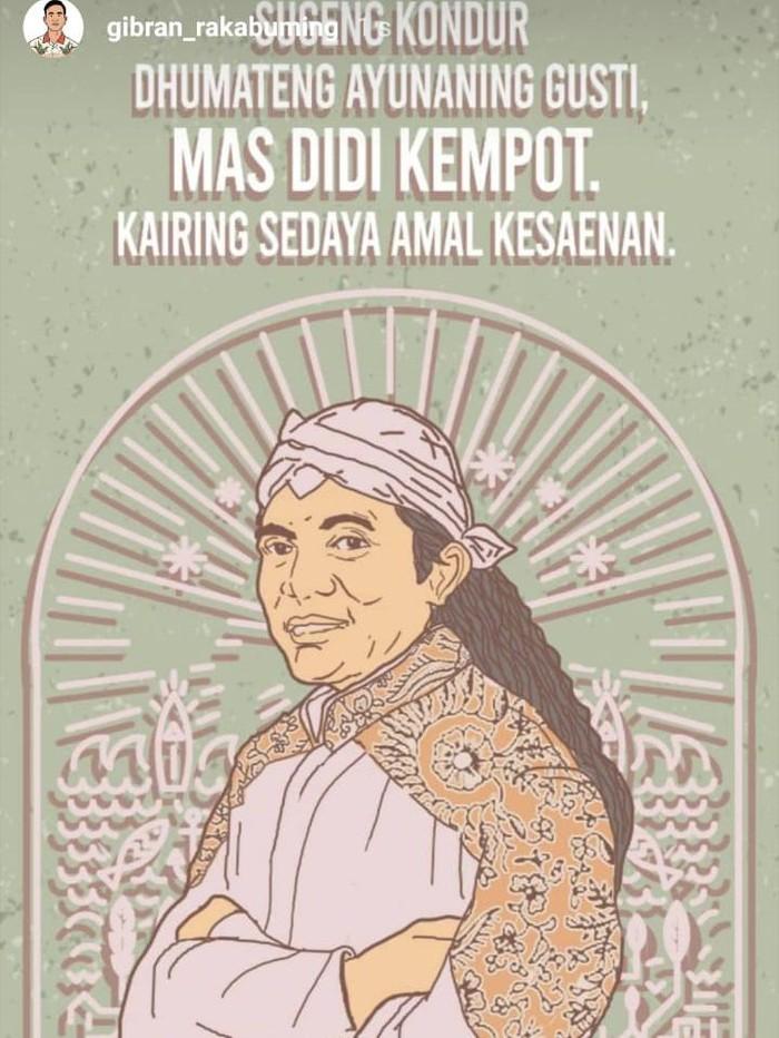 GIbran Rakabuming menyampaikan duka cita atas meninggalnya Didi Kempot, Selasa (5/5/2020).