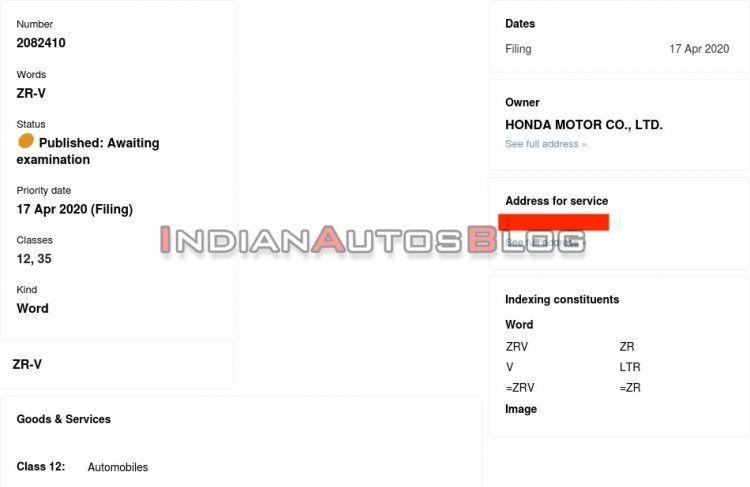 Dokumen pengajuan merek Honda ZR-V di India