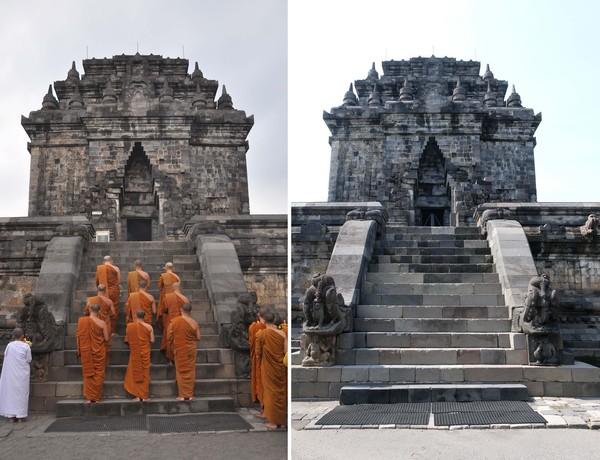 Foto kolase perbandingan suasana perayaan hari raya Tri Suci Waisak sebelum adanya pandemi COVID-19 (kiri) dan saat pandemi COVID-19 (kanan) di kawasan Borobudur, Magelang, Jawa Tengah, Kamis (7/4/2020).