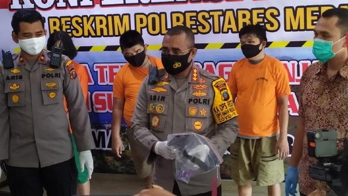 Konferensi pers pembunuhan sadis perempuan di Medan (dok. Istimewa)