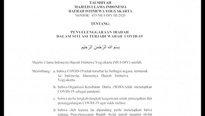 Petikan Taushiyah MUI DIY terkait wabah COVID-19