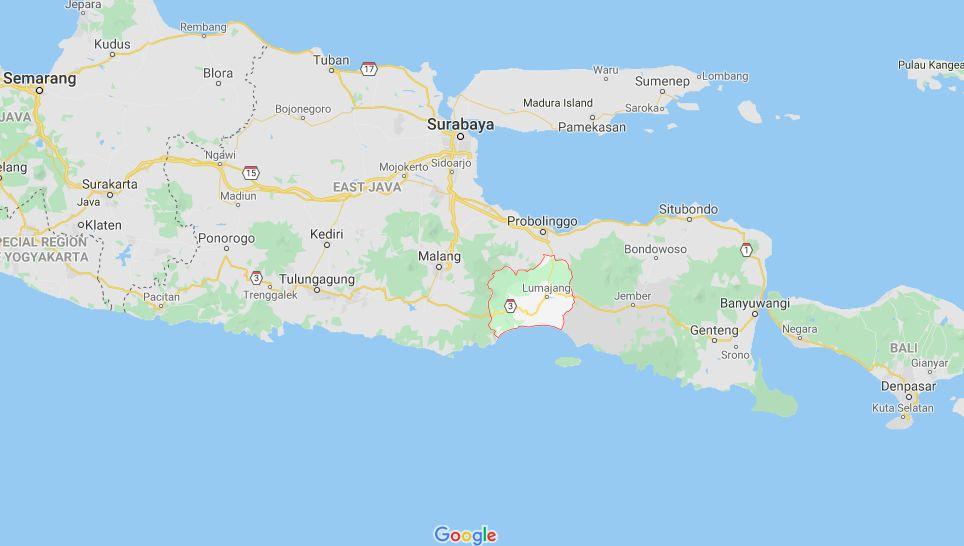 Lumajang dan Boltim (Google Maps)