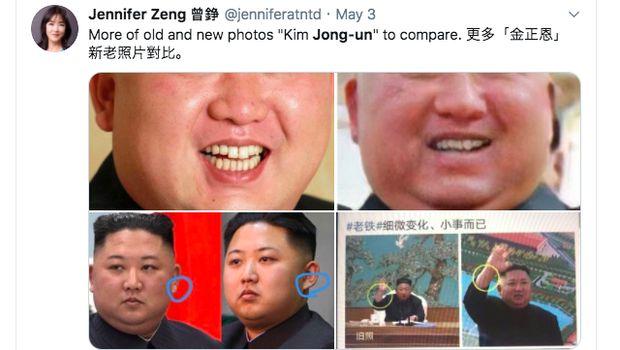 Twitter @jenniferatntd mempertanyakan keaslian sosok Kim Jong Un yang tampil ke publik.