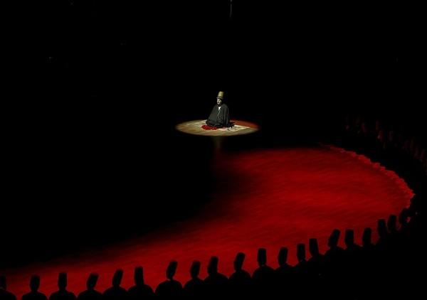 Umumnya, warna jubah yang digunakan berwarna hitam sebagai perlambang atas kuburan, dan warna putih dalam kemeja melambangkan kain kafan. Perpaduan warna itu digunakan untuk mengingatkan manusia pada kematian yang tak terduga. Ercin Top/Anadolu Agency/Getty Images.