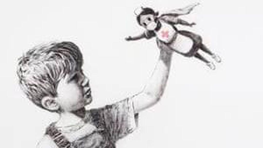 Lukisan Amal Banksy untuk Tenaga Medis Inggris Laku Terjual Rp 331 Miliar