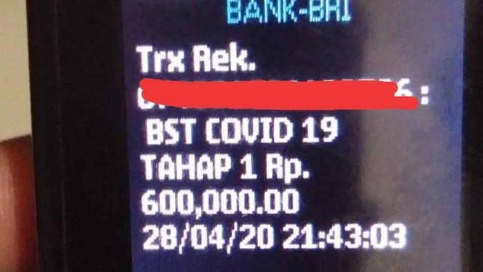 Tangkapan layar pengiriman bantuan sosial tunai (BST) di Klaten
