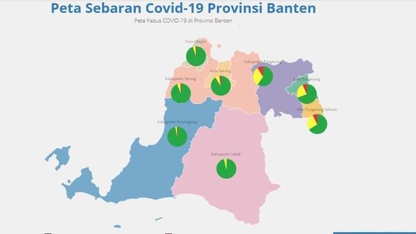 Di provinsi Banten, kasus COVID-19 ada di hampir kota dan kabupaten wilayah ini. Dalam data yang diunggah di https://infocorona.bantenprov.go.id/ hingga Jumat (8/5/2020), tidak ada kasus COVID-19 yang terkonfirmasi di Kabupaten Lebak. Di wilayah Kabupaten Lebak ada 513 ODP dan 18 PDP. Meski begitu, melakukan pemeriksaan ketat pada warga atau siapa pun yang keluar atau masuk Banten. Pemerintah setempat memperpanjang PSBB di wilayah Kota Tangerang Selatan mulai 2 Mei 2020, untuk mempercepat penanganan COVID-19. Salah satu penerapan PSBB adalah penangguhan kegiatan ibadah, sekolah, dan bisnis.