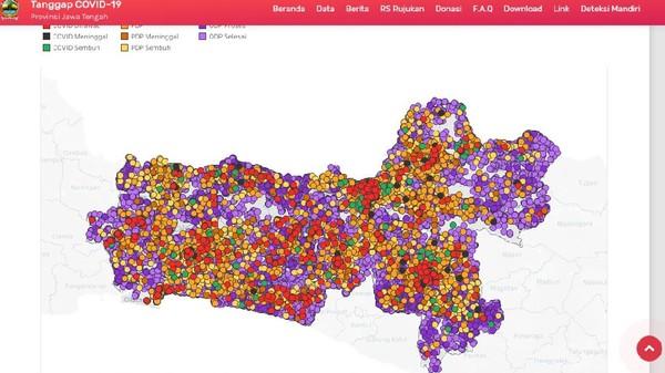 Peta sebaran COVID-19 Jawa Tengah menggunakan warna merah untuk pasien yang masih dirawat. Warna hijau mengindikasikan pasien yang berhasil sembuh. Peta didominasi warna ungu yang menandai masyarakat berstatus ODP hingga Jumat (8/5/2020). Data dan peta yang diunggah dalam https://corona.jatengprov.go.id/data menyatakan, pasien yang berhasil sembuh dan tak lagi dipantau selalu bertambah. Namun kasus baru juga terus ditemukan, sehingga sangat disarankan membatasi pergerakan dan selalu menggunakan masker.