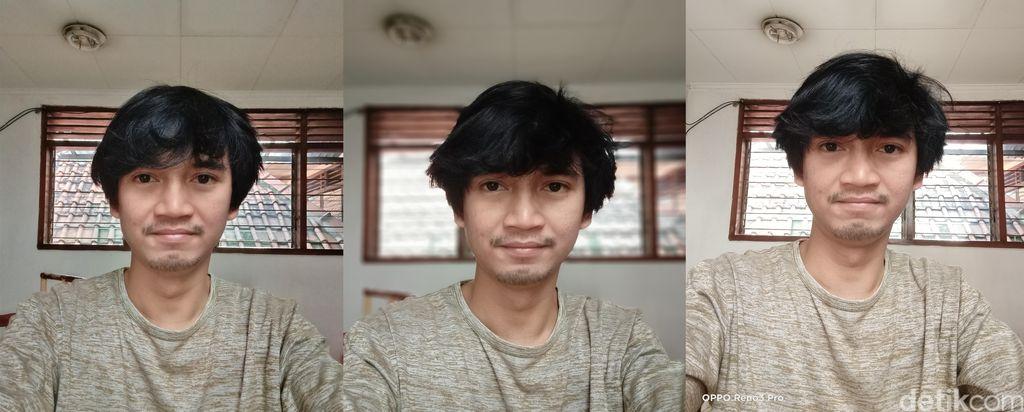 Selfie standar (kiri), portrait (tengah), 44 MP  (kanan)