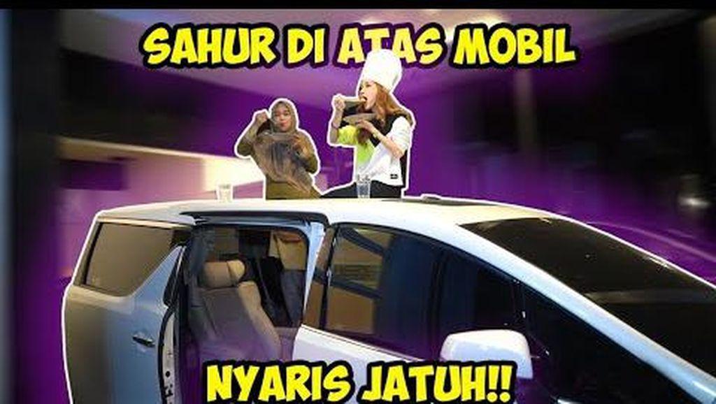 5 Momen Ria Ricis Sahur di Genteng hingga di Atas Mobil