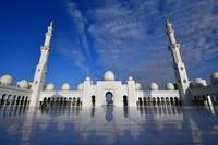Masjid Agung Sheikh Zayed megah dengan dindingd ari batu pualam dan gaya Maroko dengan kubah-kubah Ottoman. (AFP/GIUSEPPE CACACE)