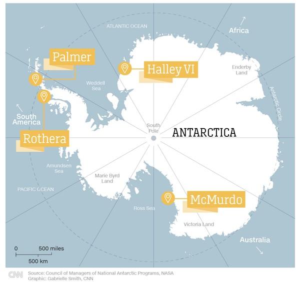 Stasiun-stasiun penelitian di Antartika.Beberapa kapal juga singgah untuk tur ke stasiun penelitian. Ada pula peneliti yang naik ke kapal dan memberi seminar singkat.