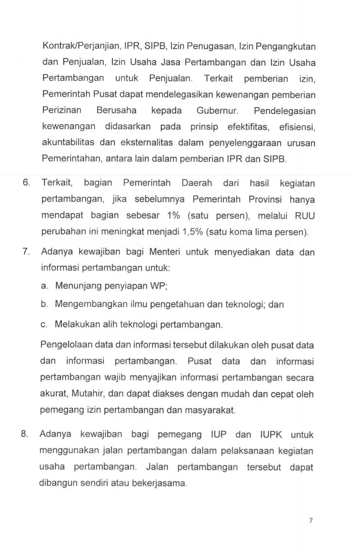 Hasil Pembahasan RUU Minerba