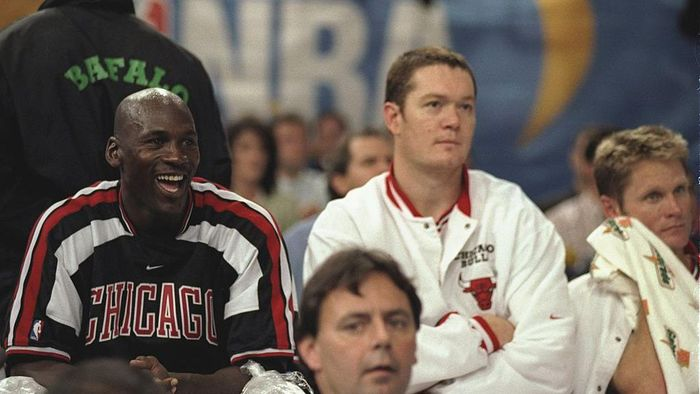 18 Oct 1997:  Michael Jordan, left, Luc Longley, center, and Steve Kerr, right, of the Chicago Bulls watch the action from the bench between the Chicago Bulls and the Olympiakos during the McDonalds Championship at the Palais  Omnisports De Paris-Bercy in Paris, France.  The Bulls won the game 104-78. Mandatory Credit: John Gichigi  /Allsport