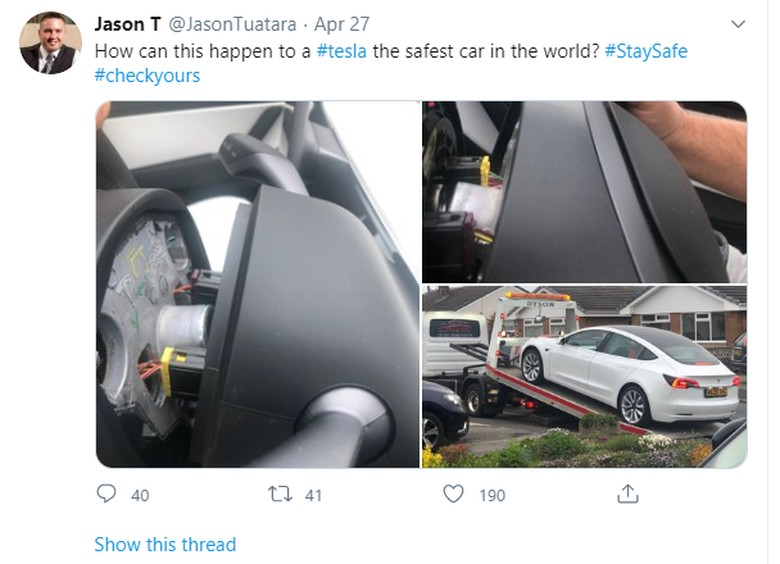 Setir Tesla Model 3 copot diduga karena kesalahan produksi