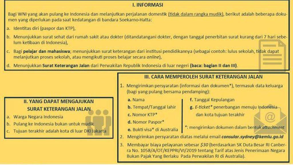 WNI di Australia Dikenai Biaya $30 untuk Urus Surat Jalan ke Indonesia
