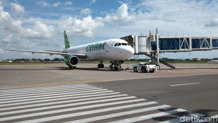 Pesawat Citilink mendarat di bandara Adi Soemarmo, Boyolali.