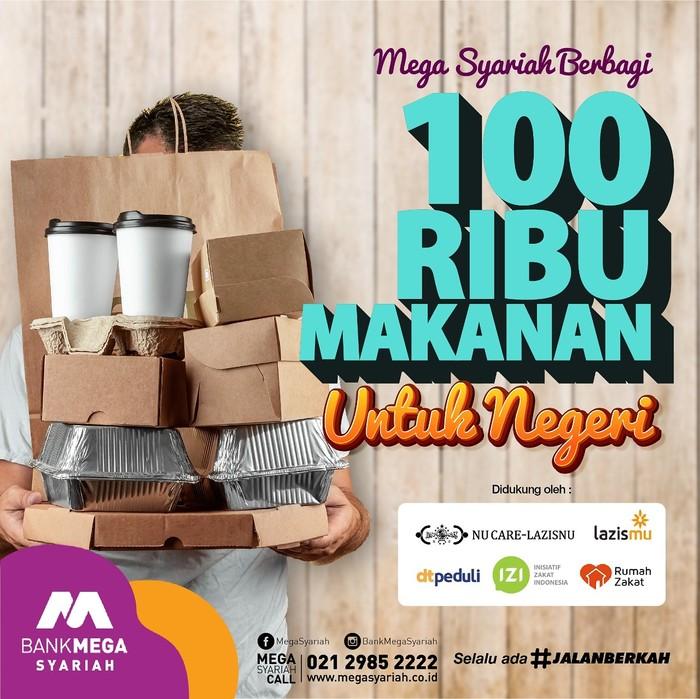 Bank Mega Syariah Berbagi 100 Ribu Makanan (Dok Bank Mega Syariah)