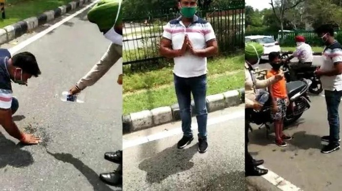 Pria meludah sembarangan dihukum polisi