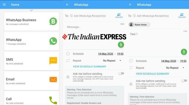 Cara schedule atau menjadwalkan pesan di WhatsApp di Android menggunakan third-party app.