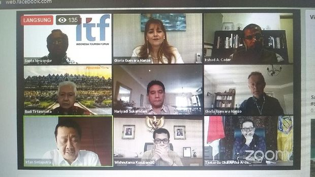 Sesi webinar oleh International Tourism Forum (ITF) bersama World Travel & Tourism Council (WTTC), Kamis (15/5/2020)