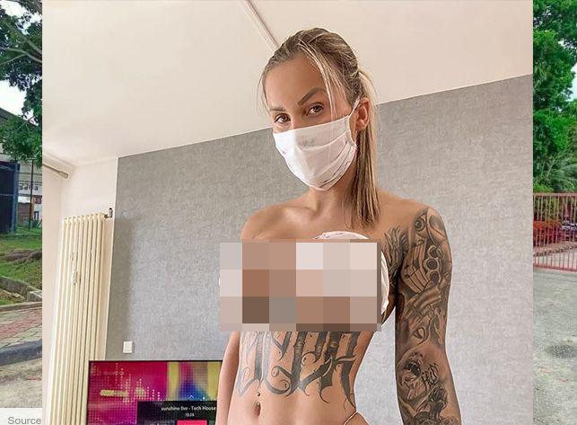 Jill Hardener pakai pakaian dalam dari masker medis