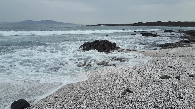 Pantai dengan pasir unik di Kepulauan Canary, Spanyol.