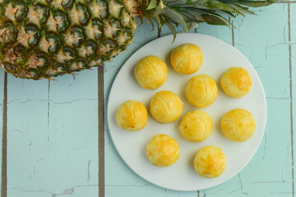 Indonesian pineapple tart cookies or Nastar served to celebrate Idul Fitri or Lebaran or Eid Mubarak