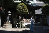 Kuil Onoterusaki di Tokyo tetap mengadakan ritual penyucian roh jahat yang dilakukan tiap tahun. (AP)