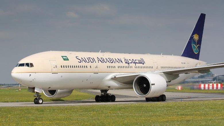 Prague, Czech Republic - July 20, 2010: B777 Saudia Arabia taxi to takes off PRG Airport