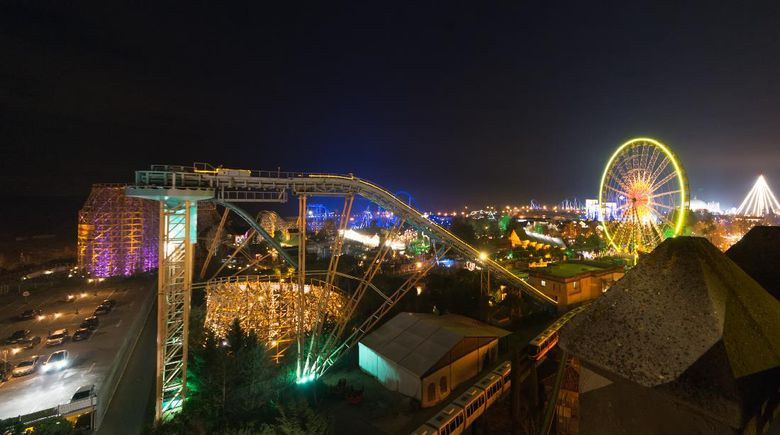 Rust, Germany - December 31, 2013: Illuminations in the park area from the Europa Park in Rust. The largest theme park in the German-speaking area