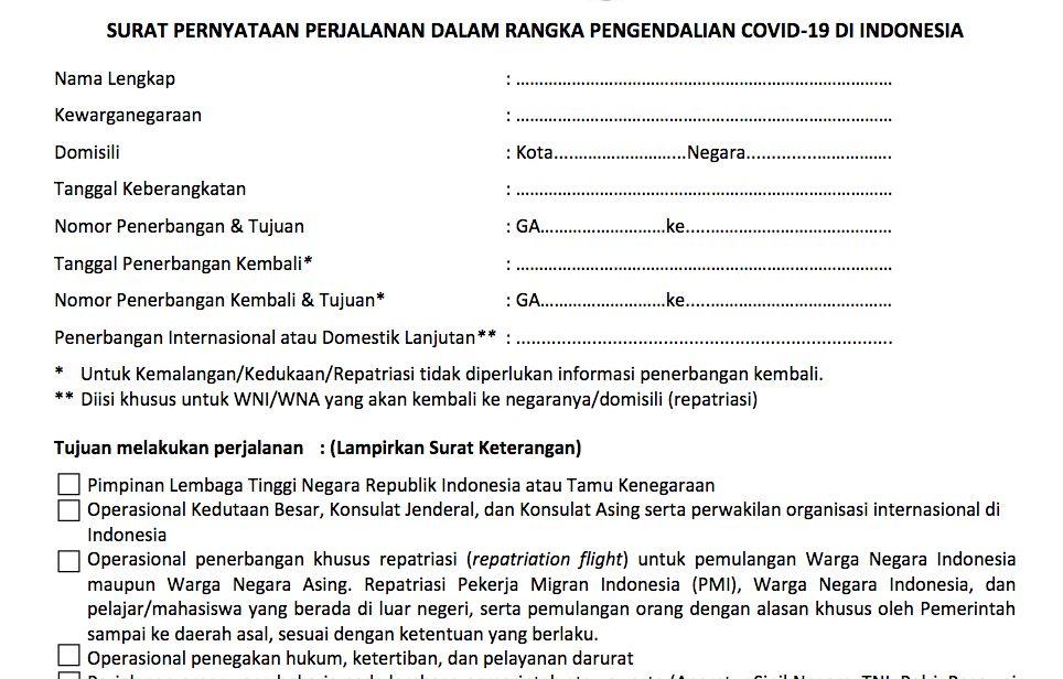 Surat Pernyataan Terbang dari Garuda Indonesia