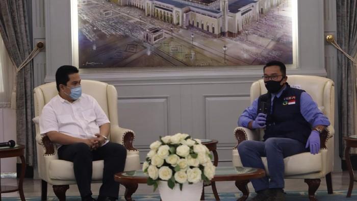 Gubernur Jabar Ridwan Kamil bertemu dengan Menteri BUMN Erick Tohir