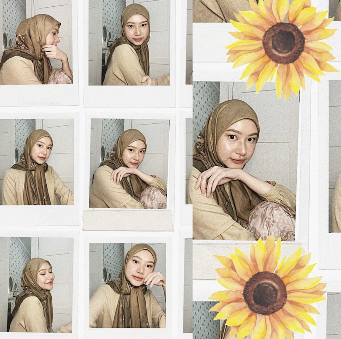 Tutorial hijab segi empat untuk Lebaran.