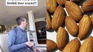 Kocak! Netizen Soroti Kebiasaan Ayahnya Goyangkan Tangan Sebelum Makan Kacang
