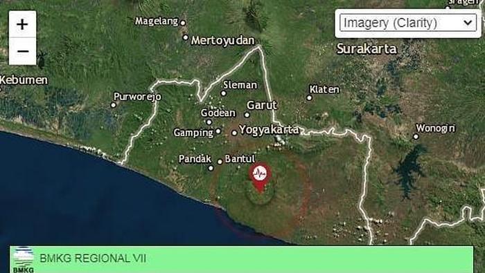 Tangkapan layar gempa M 2,5  di Bantul Minggu (24/5/2020)