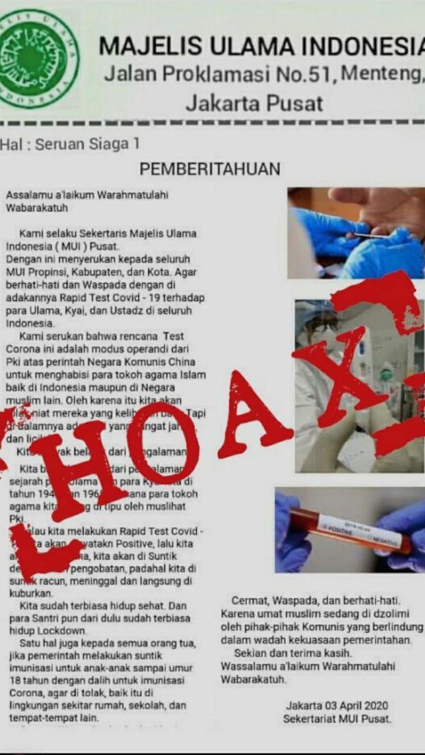 Surat Hoax Rapid Test Corona Modus Operandi PKI