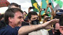 Ikut Demo di Tengah Pandemi Corona, Presiden Brasil Bolsonaro Lepas Masker