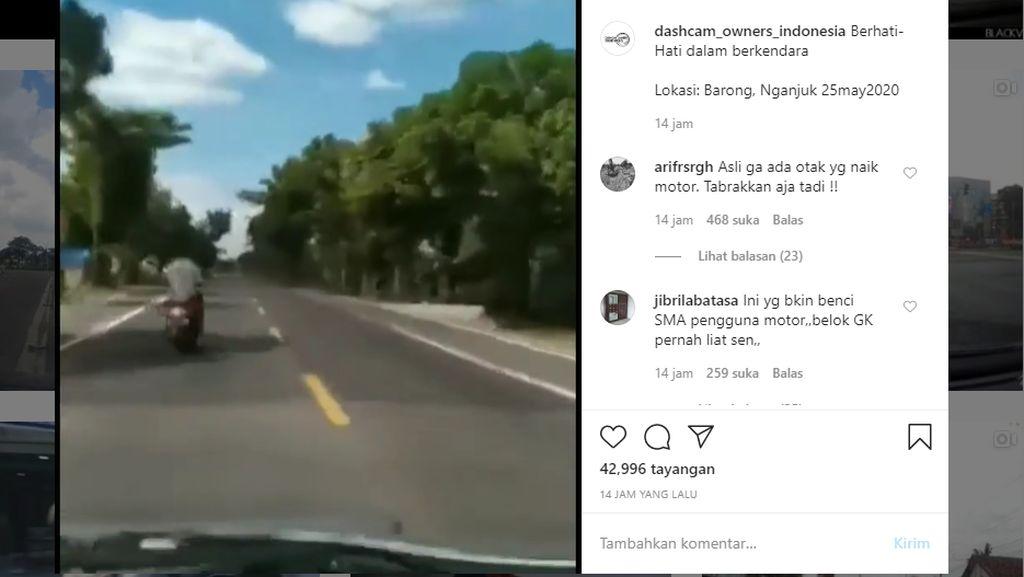 Pemotor Menyeberang Mendadak, Mobil Ini Oleng dan Tabrak Tembok