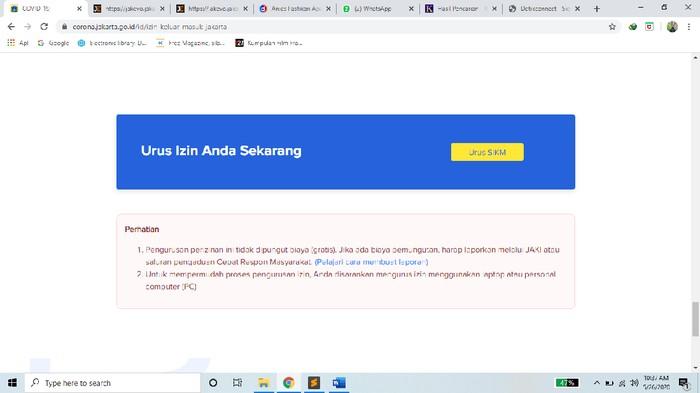 Cara Bikin Sikm Atau Surat Izin Keluar Masuk Jakarta Online Di