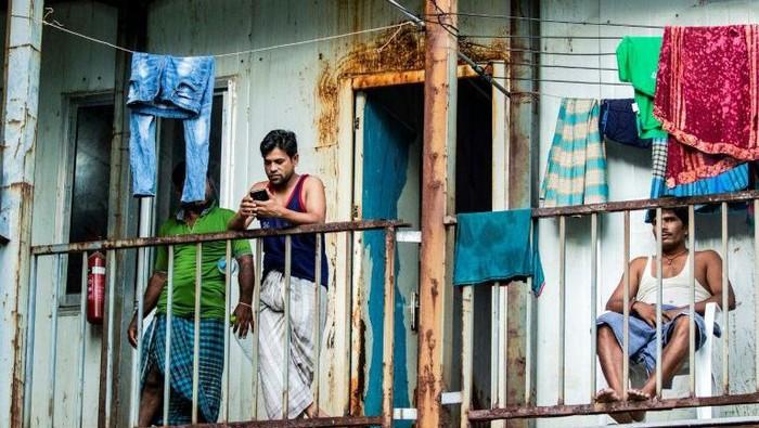 Kondisi para pekerja migran yang terjebak di Maladewa (AFP Photo/ Ahmed Shurau)