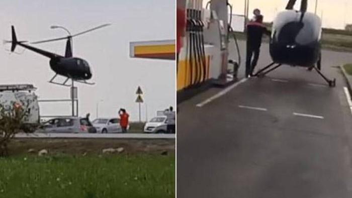 Helikopter isi bahan bakar di SPBU