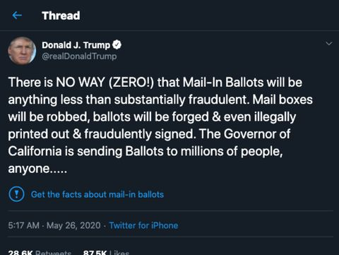 Label peringatan dari Twitter untuk cuitan Trump